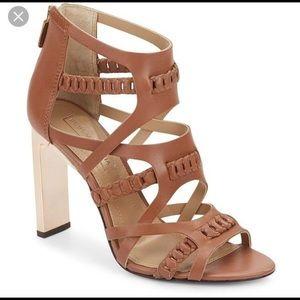 BCBG Dorie leather sandal with mirror heel